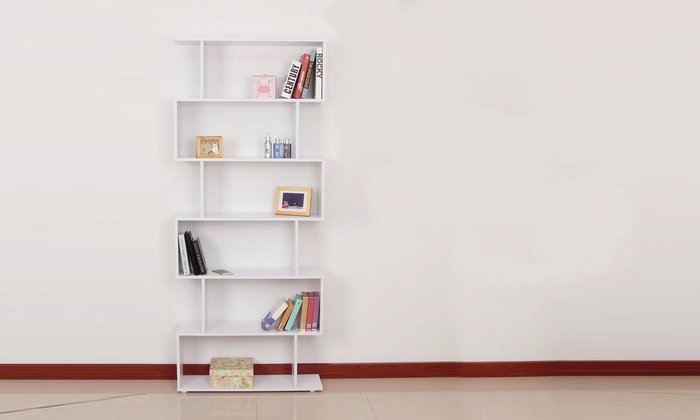 Groupon Goods Global Gmbh Homcom Six Shelf S Shaped Bookcase With Free Delivery