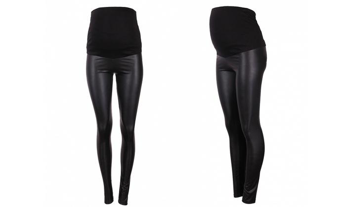Groupon Goods Global GmbH: Maternity Leather-Look Black Leggings