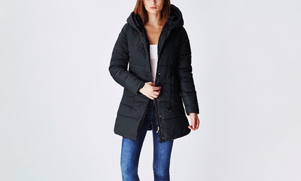 Juniors' Hooded Double-Closure Long Puffer Jacket (Sizes S & M)