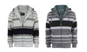 Men's Striped Zip-Up Hoody with Fleece Lining