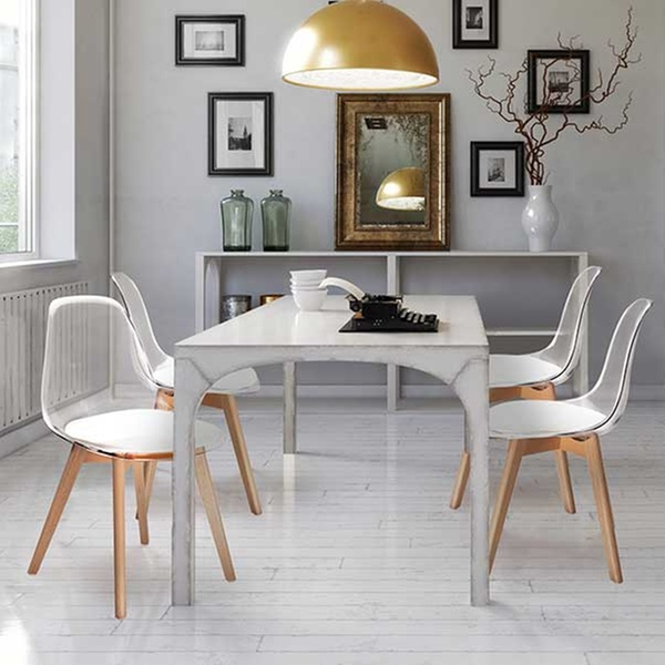 2 Ou 4 Chaises Scandinaves Transparentes Avec Coussin