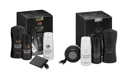 Lynx Elite Black Bluetooth Shower Speaker or Dark Temptation Portable Power Bank Gift Sets