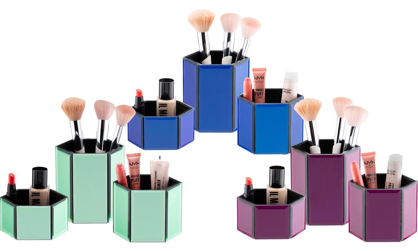 Three-Piece Glass Cosmetic Pot Set