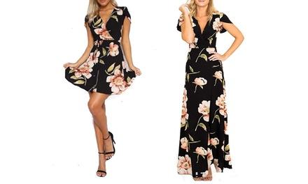 Gardenia Floral Print Summer Short or Maxi Dress