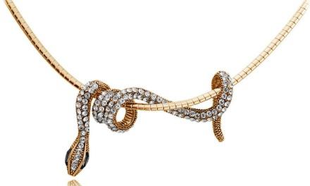 Rose Gold Crystal Snake Choker