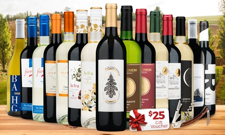 15 Bottles of Premium Wine, $25 Gift Voucher, and Corkscrew from Wine Insiders - 1 or 2 Sets (Up to 81 perc Off)