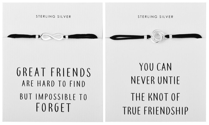 One, Two or Four Philip Jones Sterling Silver Quote Bracelets from £7.99