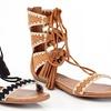 Eddie Marc Women's Gladiator Strap-Up Sandals with Tassels
