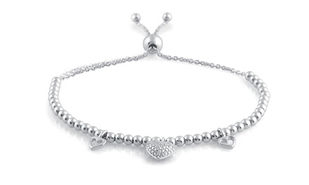 Diamond-Accent Beaded Bolo Bracelet in Sterling Silver by DeCarat