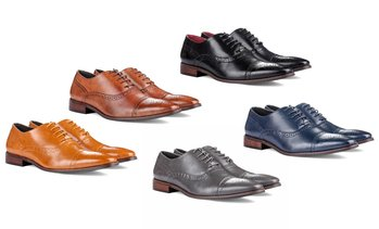 Signature Men's Brogue Cap Toe Oxford Dress Shoes
