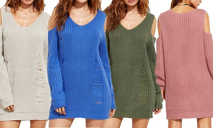Cold Shoulder Knitted Jumper Dress: One $29 or Two $49 Don't Pay up to $159.90