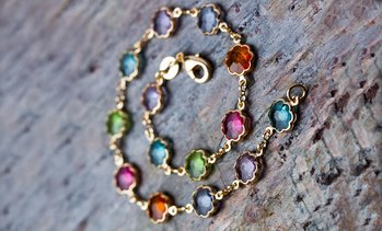 18K Gold Plated Multi Color Anklet With Swarovski Elements by Peermont