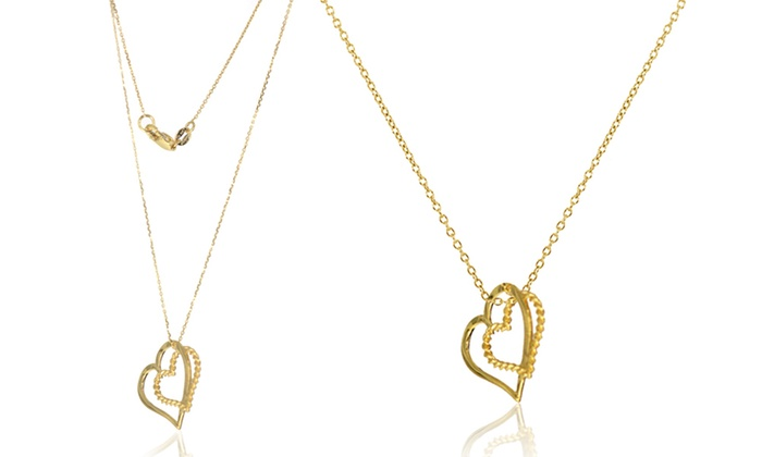 88b8f1b5e070a 10K Yellow Gold Dangling Double Heart Necklace by Decadence