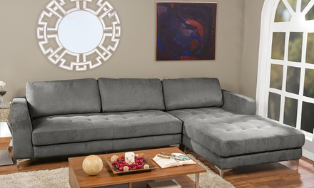 Agnew contemporary microfiber right facing sectional sofa for Sectional sofa groupon