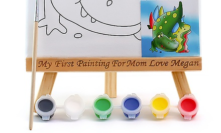 One or Two Mini Painting Canvases with Personalized Wooden Easels from MonogramHub (Up to 77% Off)