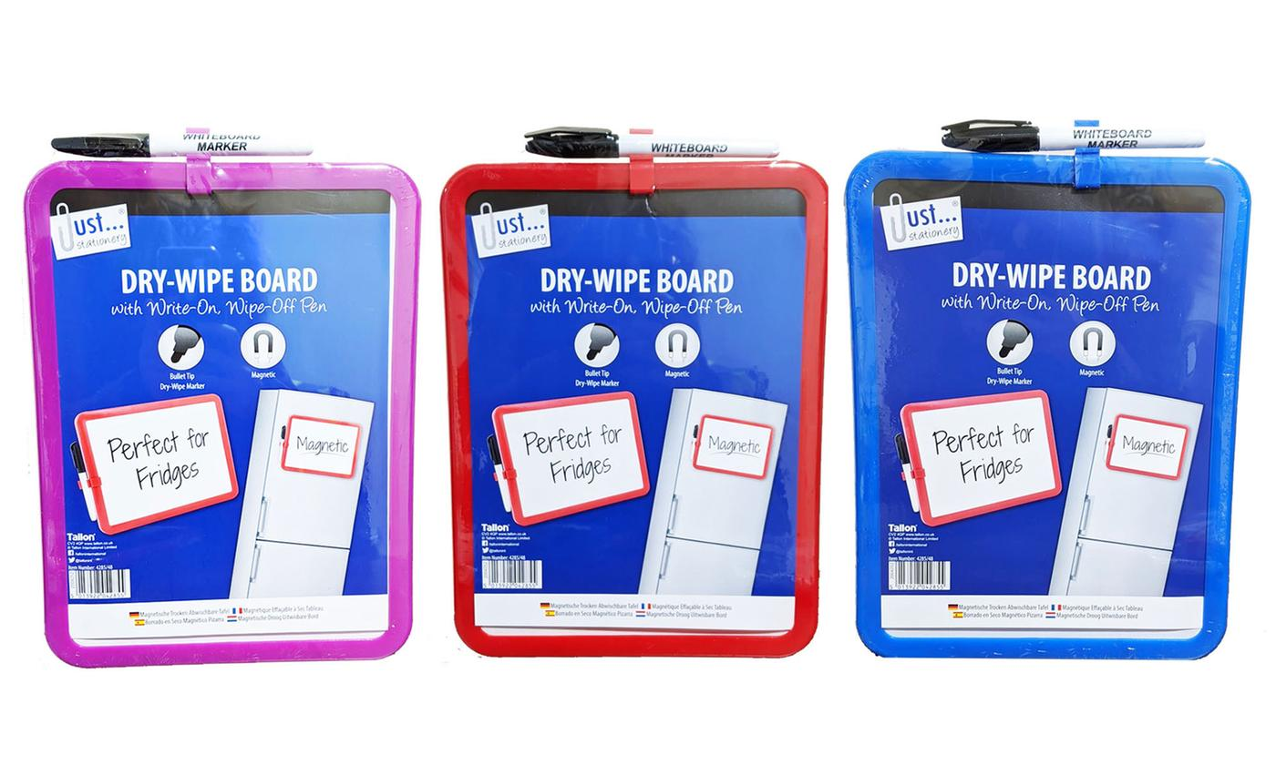 Set of Three A4 Magnetic Dry-Wipe Whiteboards with Pens