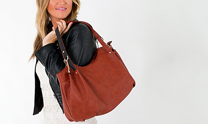 Parinda Pebble-Grain Faux-Leather Handbag