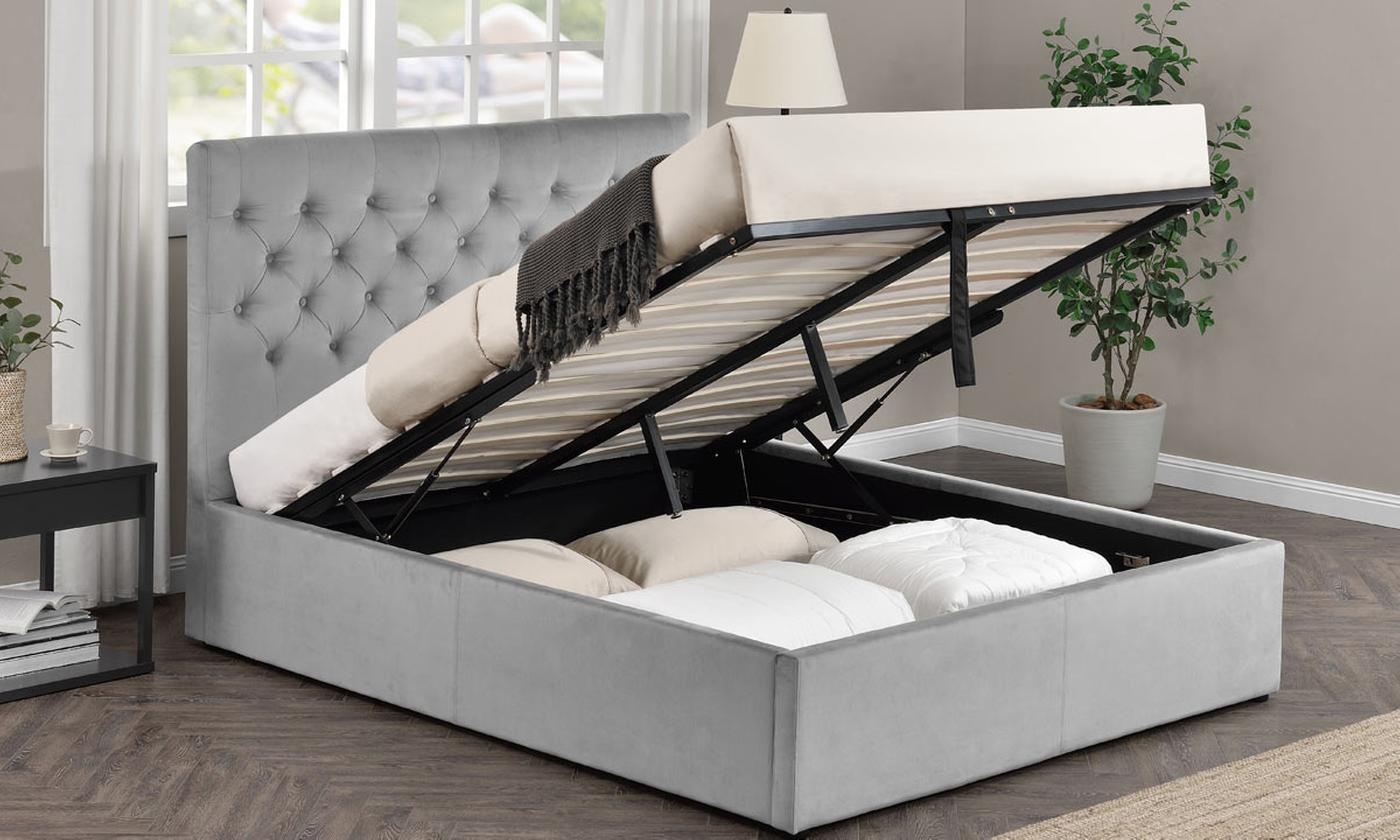 Eltham Grey Velvet Bed with Optional Mattress (£445)