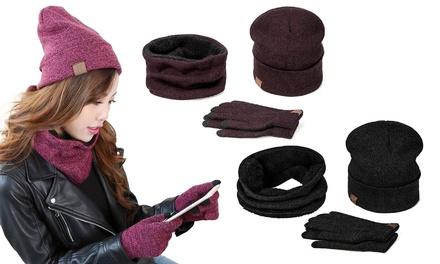 Set de gorro, bufanda y guantes para invierno
