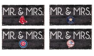 "Fan Creations 12""x6"" MLB Baseball Mr. and Mrs. Sign"