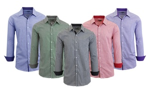 Men's Solid or Checkered Shirt with Contrast Sleeves and Collar at Men's Solid or Checkered Shirt with Contrast Sleeves and Collar, plus 6.0% Cash Back from Ebates.