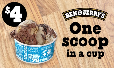 Ben & Jerry's: 1 Scoop in a Cup $4 or 2 Scoops + Brownie $7.80 or 2, Multiple Locations Up to $24.60 Value