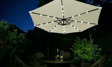 Parasol LED solaire Cantilever avec housse de protection en option, coloris au choix