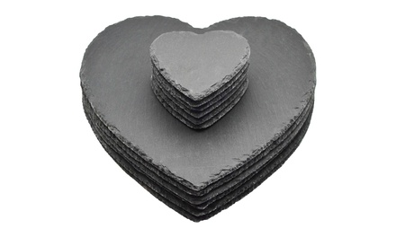 6, 12 or 24Pack of Argon Tableware HeartShaped Natural Slate Coasters, Placemats or Both
