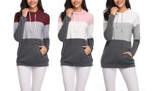 Women's Colorblock Long-Sleeve Lightweight Hoodie Top