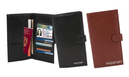 Passport and Travel Document Holder in Black or Brown for £3.95