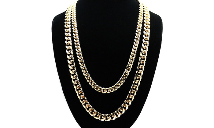 Solid 14K Gold Italian Cuban Curb Chain Necklaces