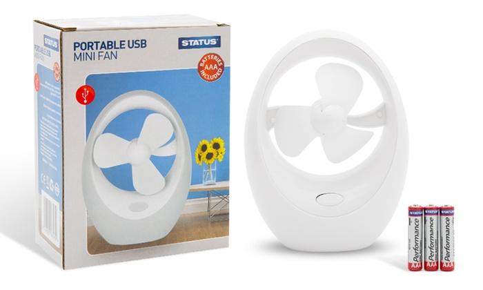 1 ou 2 ventilateurs portables USB ou à piles, en blanc