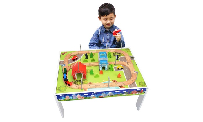Toytopia 75-Piece Wooden Train Table Set  sc 1 st  Groupon : childrens wooden train set tables - pezcame.com