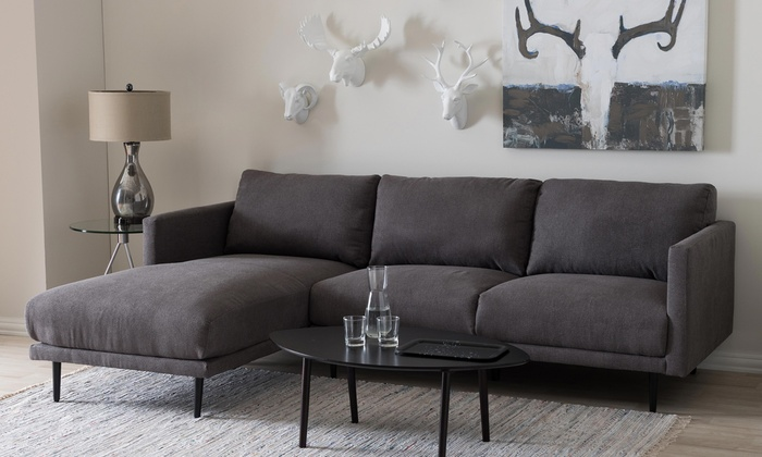 33 off on riley upholstered sectional sofa groupon goods for Sectional sofa groupon