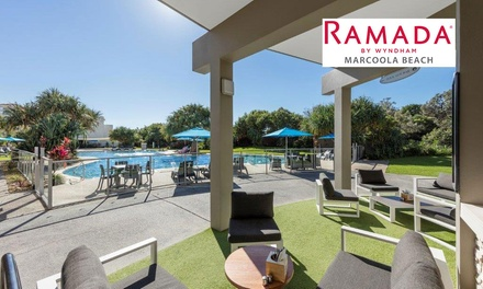 Sunshine Coast: 2 or 3 Nights for Up to Four with Wine, Bike Hire and Late Check-Out at Ramada Hotel Marcoola Beach