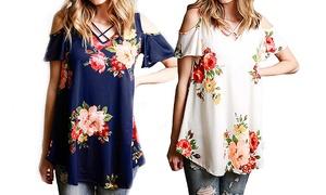 Women's Cold Shoulder Floral Shirt