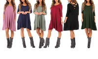 Women's Long-Sleeved Cross-Back Dress with Pockets (Multiple Colors)