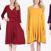Women's Solid Fall Dress
