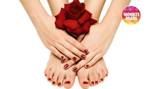 Lanaturaticura: 3 o 5 manicure e pedicure con applicazione di smalto semipermanente al centro Lanaturaticura (sconto fino a 83%)