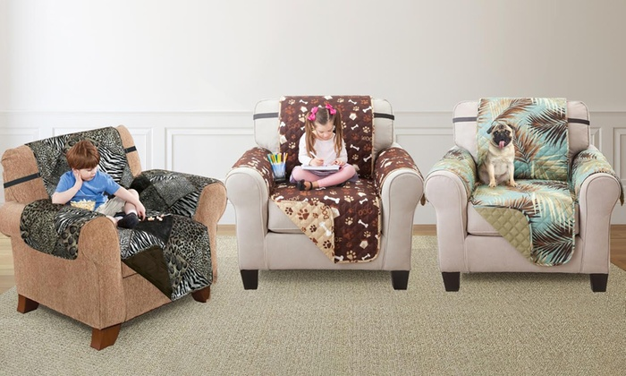Printed Reversible Furniture Protector For Sofa Loveseat Or Chair