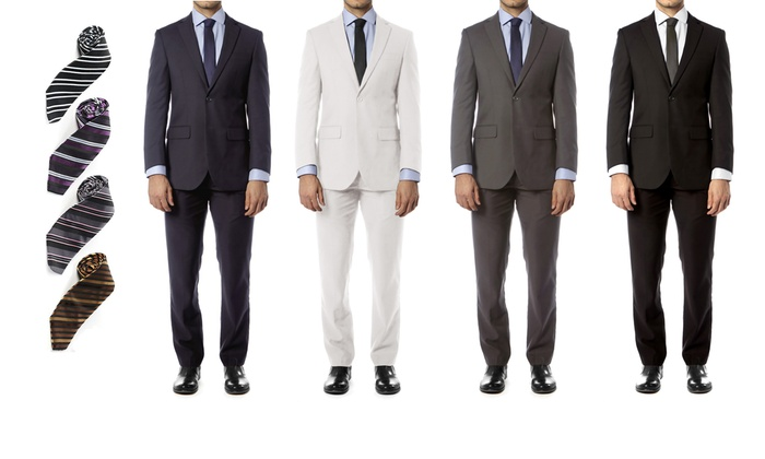 Victorio Couture Men's Tailored Fit Suit with Free Tie