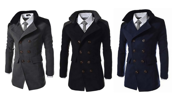 Men's Contrast Collar Smart Coat in Choice of Colour for £26.99