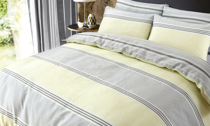 Pieridae Banded Stripe Duvet Cover Set in Choice of Colour from £6.84