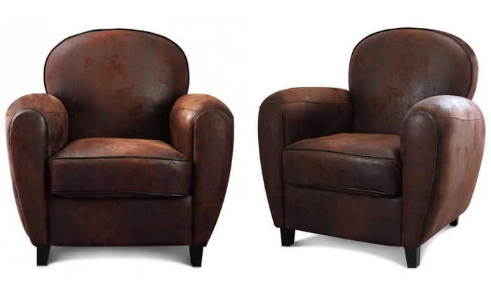fauteuil club microfibre marron groupon. Black Bedroom Furniture Sets. Home Design Ideas