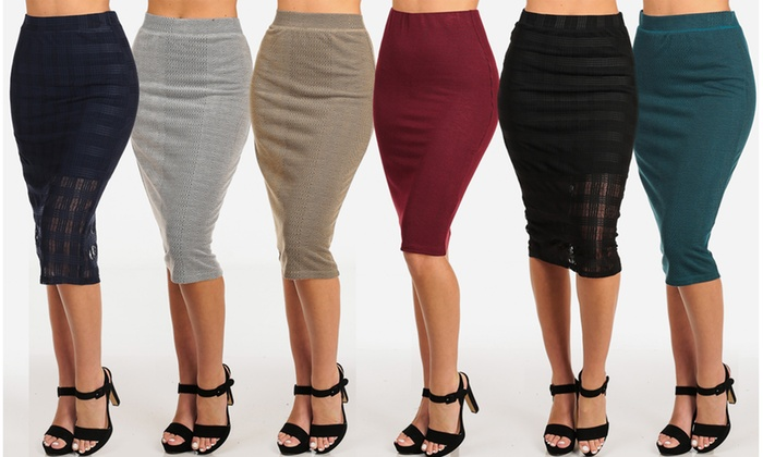 7d22ff66b Women High-Waisted Below-the-Knee Pencil Skirt. Plus Sizes Available.