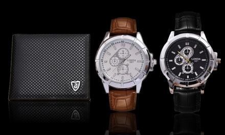 Reloj con correa de piel con opción a cartera de cuero