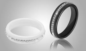 (Exclusive)  Bague céramique cristaux Swarovski® -85% réduction