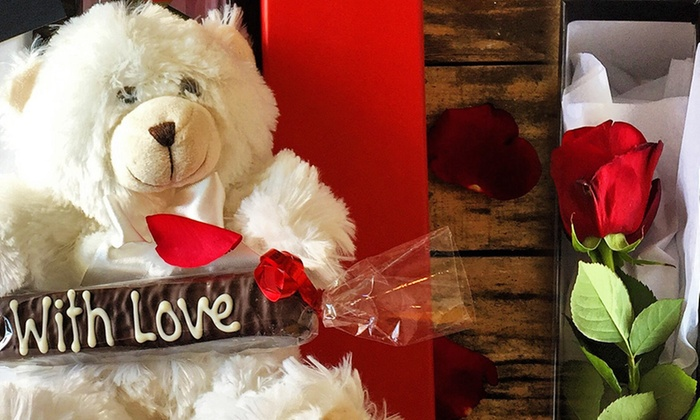 The Honeybunch Shop - The Honeybunchshop: Beary Flower Rose Treat Box - Pick-Up ($49) or Delivered ($59) at The Honeybunch Shop (Up to $130 Value)