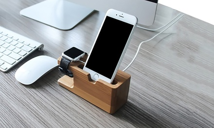 Bamboo Wood Charging Stand Cradle for Apple Watch and iPhone from AED 39 (Up to 70% Off)