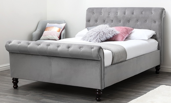 Lambeth Velvet Sleigh Bed or Ottoman Bed with Optional Mattress